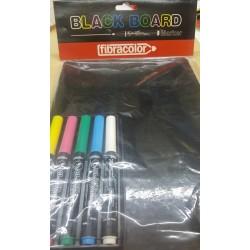 LAVAGNA CON 5 PENNARELLI A SECCO - BLACK BOARD FIBRACOLOR