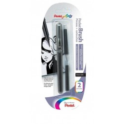 Pocket Brush Pentel con 2 Ricariche GFKP  Nero Pigmentato