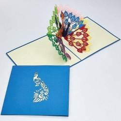 Biglietto D'Auguri Origamo ''Pavone''
