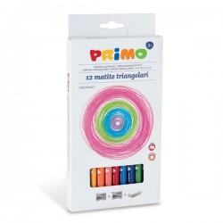 12 Pastelli Primo Colorate Triangolari MAXI Laccate Basswood 100% FSC