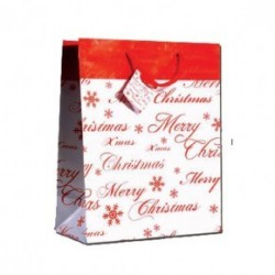 BUSTA REGALO 18X23 PICCOLA SWEEPING PARTY MERRY CHRISTMAS