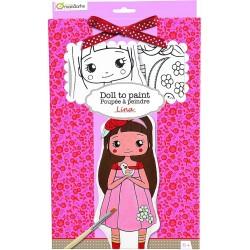 Bambolina Lina In Tessuto da Colorare con Kit di Colori Avenue Mandarine