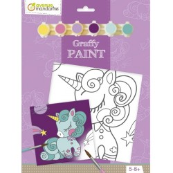 Kit Cartoncino Telato con Colori Graffy Vernice – Unicorno Avenue Mandarine